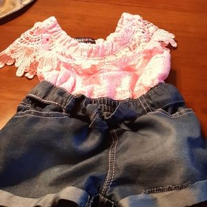 Girl knitted jean short pcs